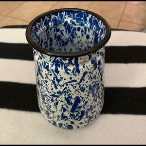 Blue and white enamelware Utensils Caddy.